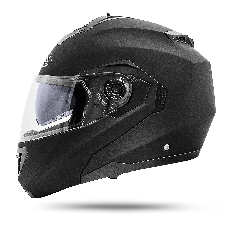 ATO Moto Montreal Schwarz matt Gr/ö/ße S 55-56 cm Klapphelm mit Doppelvisier System und der neusten Sicherheitsnorm ECE 2205