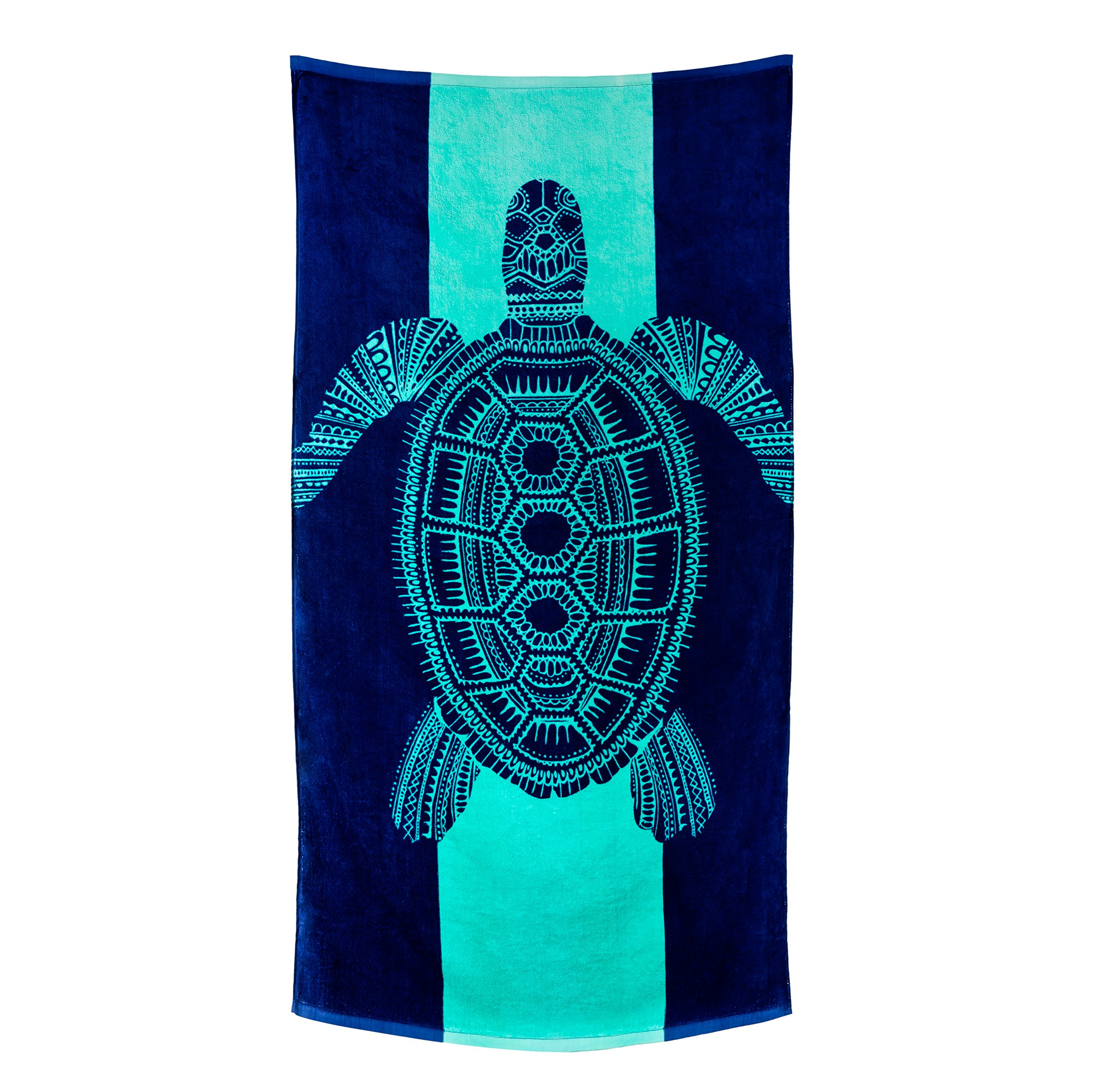 Nova Blue Turtle Beach Towel - Tropical Blue Colors With A Unique Fun Design Extra Large (62x33) Made From 100% Cotton For Kids & Adults