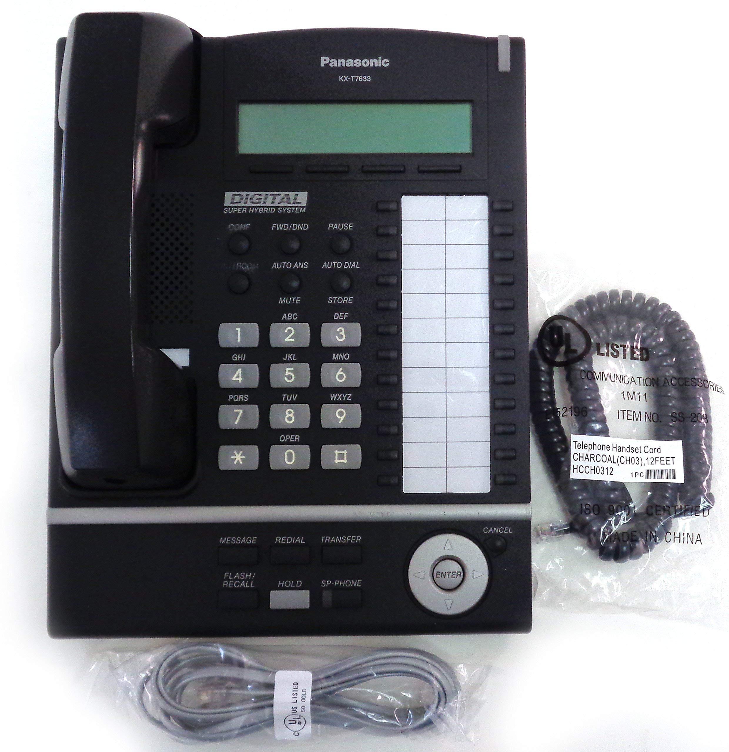 Panasonic KX-T7633 24 Button Backlit Display Speakerphone - Black (Renewed)