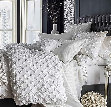 Amazon White cotton diamond puckered duvet cover 110
