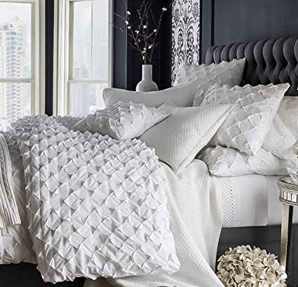 White Cotton Duvet Cover King Queen Size Puckered 104w X 90l