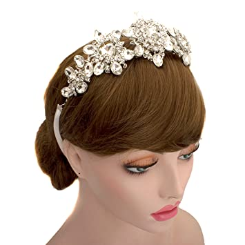 Amazon Wedding Bridal Big Rhinestone Crown Headpiece Tiara