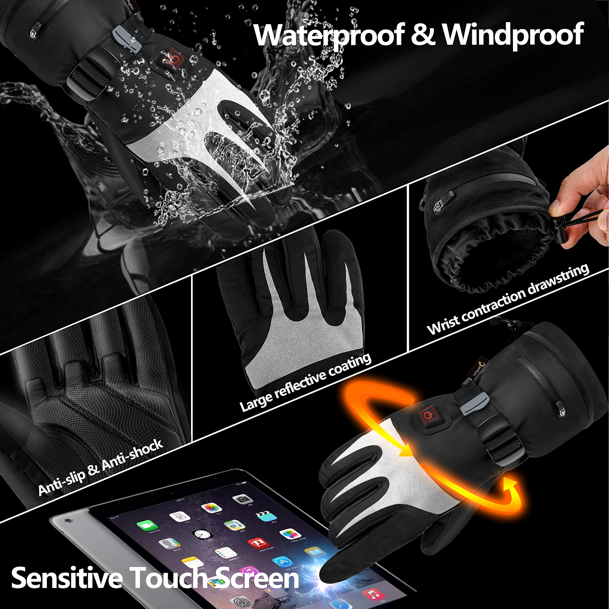 Heated gloves for Men Women,Electric heated gloves|Heated motorcycle gloves| Heated Ski Gloves