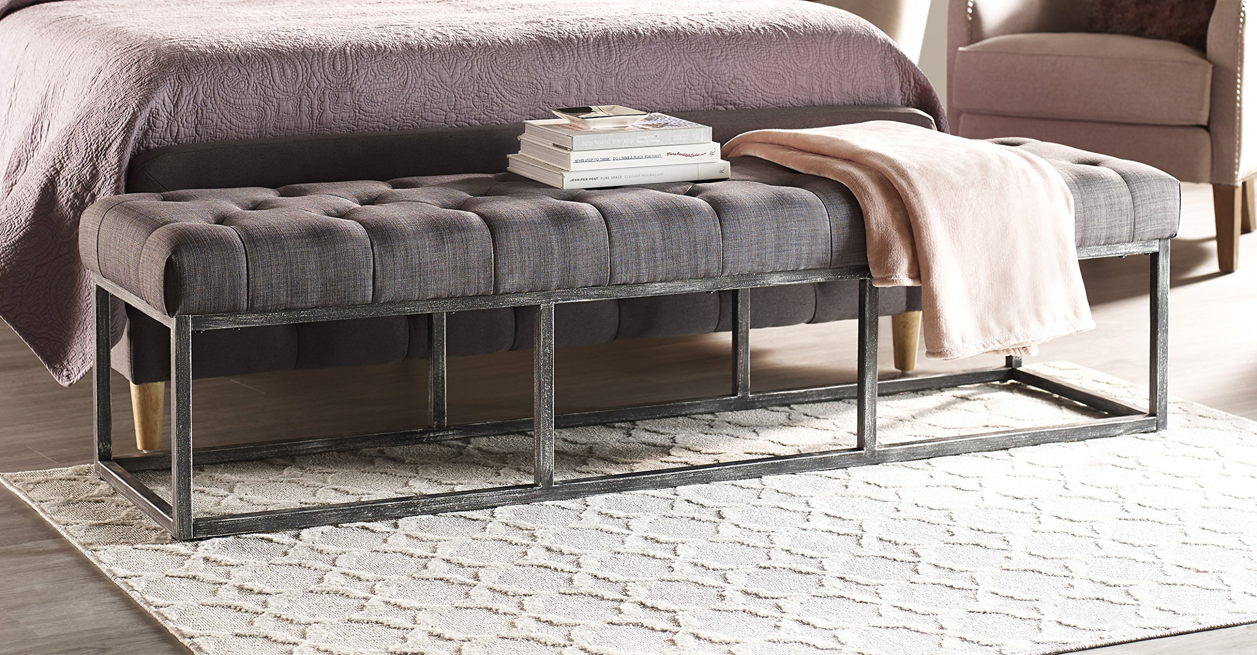 Serta Danes Tufted Bench with Iron Legs, Charcoal