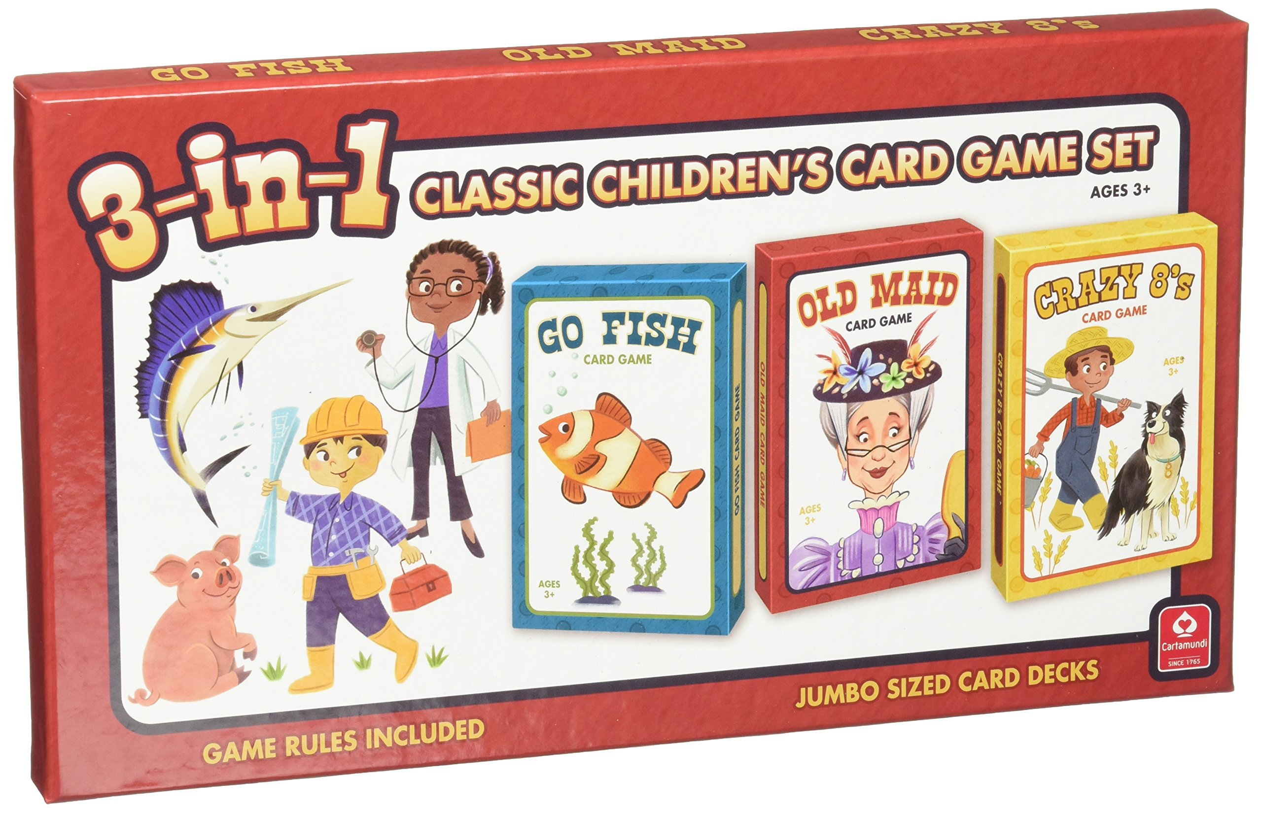 Cartamundi USA 3-in-1 Classic Children's Card Game Set