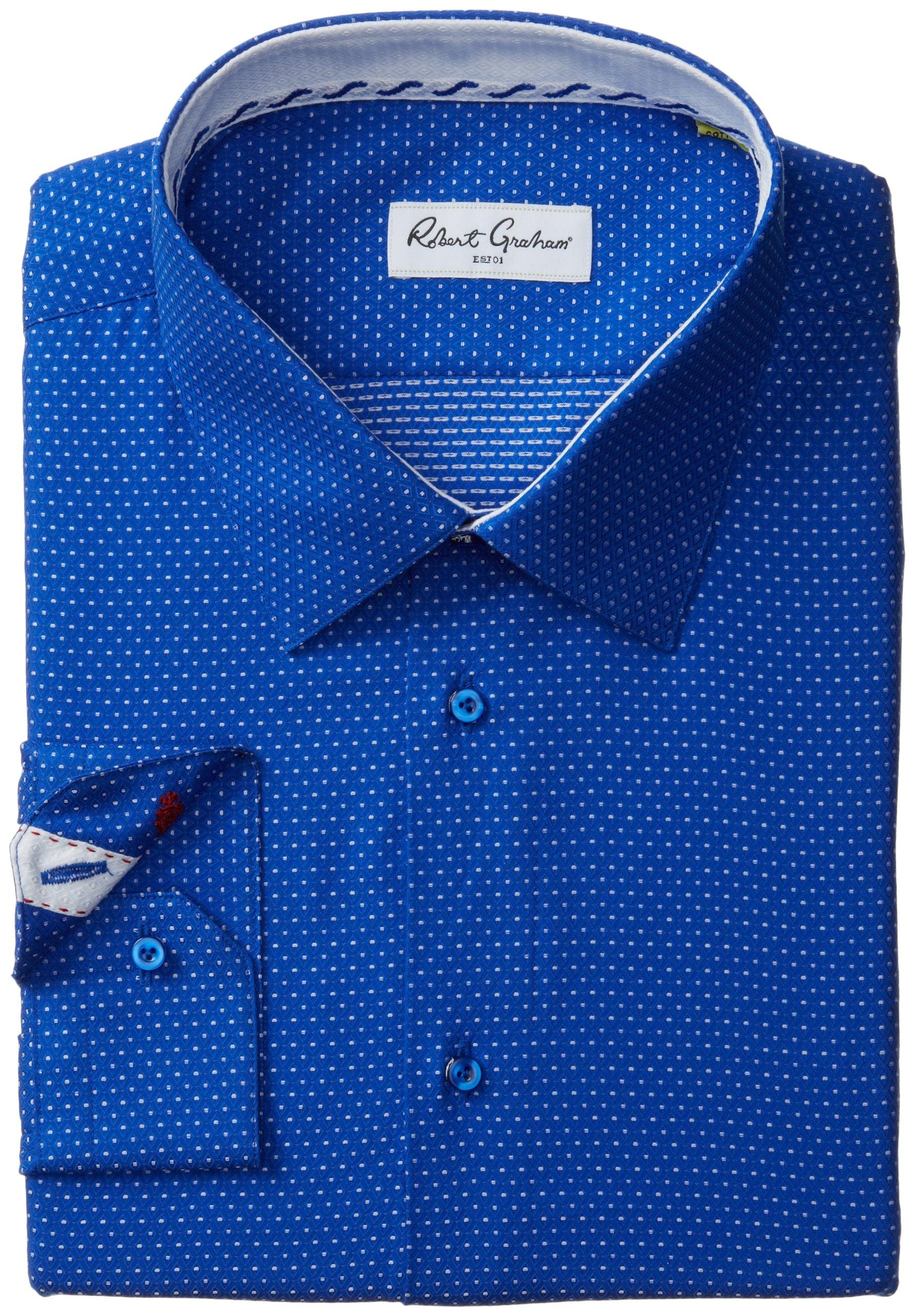 Robert Graham Men's Clarence Regular Cuffs Shirt, Navy, 18 by Robert Graham