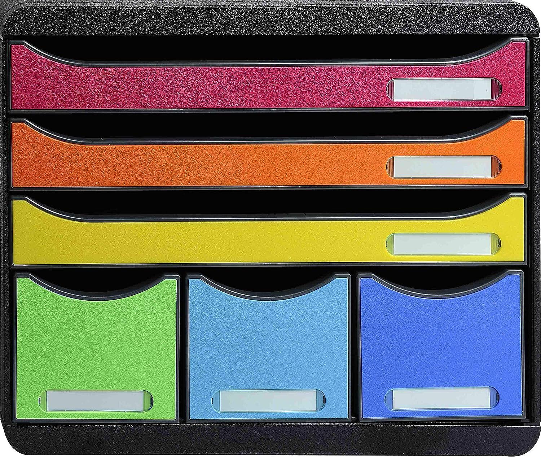 Nero//Arlecchino Glossy Exacompta 302798D Cassettiere 35 x 28.8 x 32