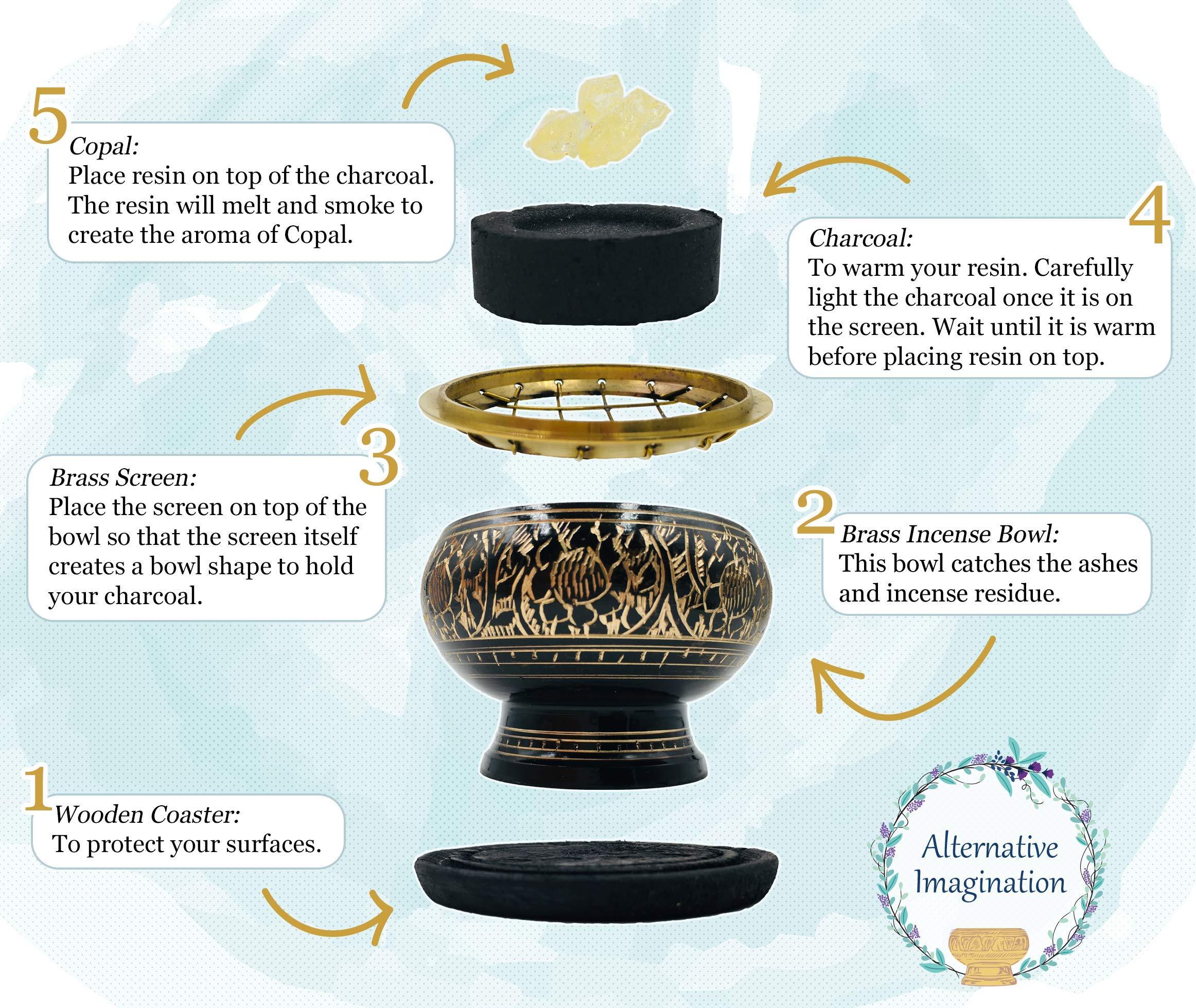 Alternative Imagination Premium Copal Burning Kit (with Tibetan Incense Burner or Brass Screen Burner) (Black Brass) by Alternative Imagination (Image #5)
