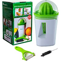 Manual Citrus,Orange Juicer and Zucchini Spiralizer,Vegetable Slicer 2 in 1 Premium Bundle Guaranteed,Can Also Be Used as a Lemon,Lime Squeezer and Noodle Maker .BONUS Vegetable Peeler and Cleaning Brush. SIMPLEJOY. Enjoy Healthy.