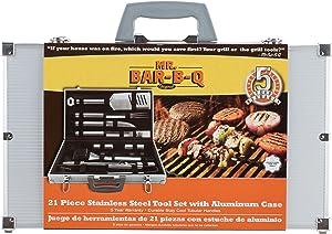 Mr. Bar-B-Q 02066Y Silver Prestige 21-Piece Tool Set in Case