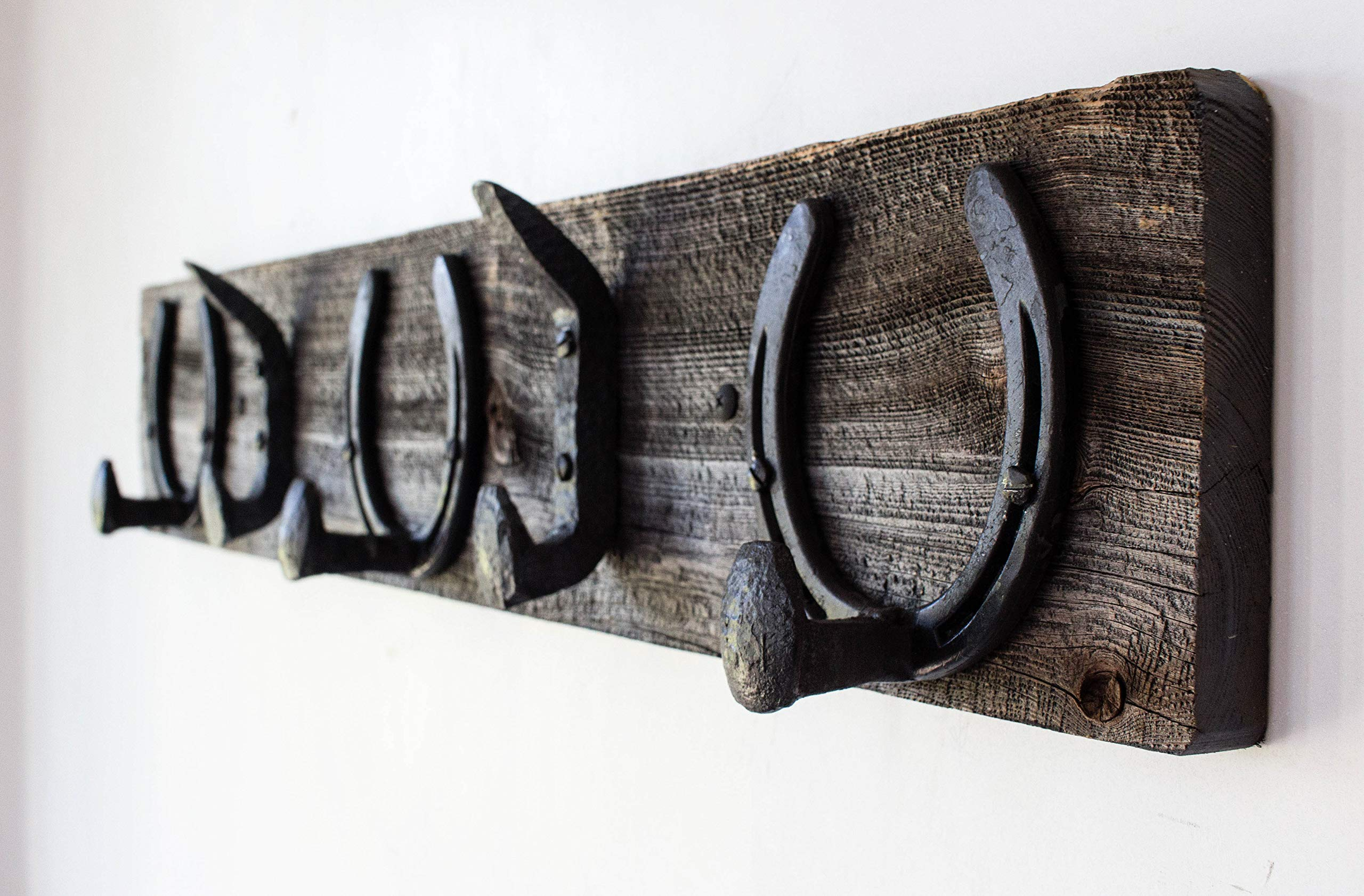 Vintage Rustic Coat Rack –Authentic Barn Wood Hanger Rack for Towels, Clothes, Hats, Bags–Antique Door & Wall Mounted 5-Hook Rail (Horseshoe & Railroad Spike Hook - 32'' x 5 ¾ x 7/8'', Gray)