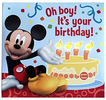 Amazon Mickey Mouse Kids Birthday Greeting Card With Lights