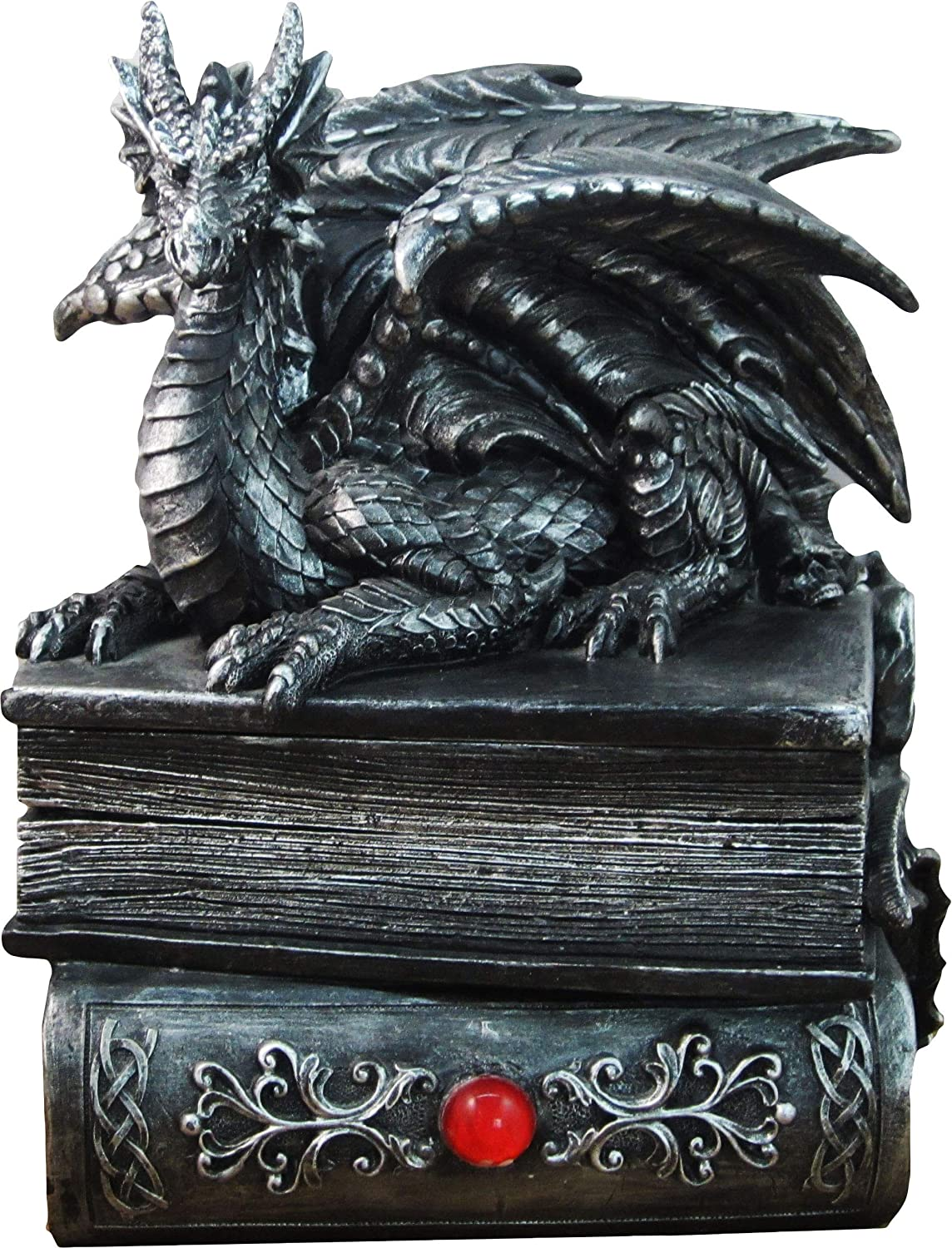 DWK 8 Guardian of Bibliophiles Decorative Medieval Gothic Dragon Trinket Stash Box Statue with Magical Hidden Book Secret Storage Compartment for Fantasy Home Decor