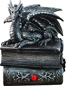 "DWK 8"" Guardian of Bibliophiles Decorative Medieval Gothic Dragon Trinket Stash Box Statue with Magical Hidden Book Secret Storage Compartment for Fantasy Home Decor"