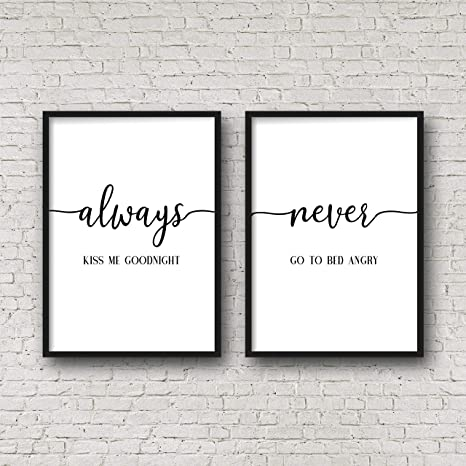 Amazon Com 456yedda Always Kiss Me Goodnight Never Go To Bed Angry Bedroom Printable Wall Art Wedding Gift Bedroom Quotes Above Bed Decorset Of 2 Wood Pallet Design Sign Plaque With Frame Wooden
