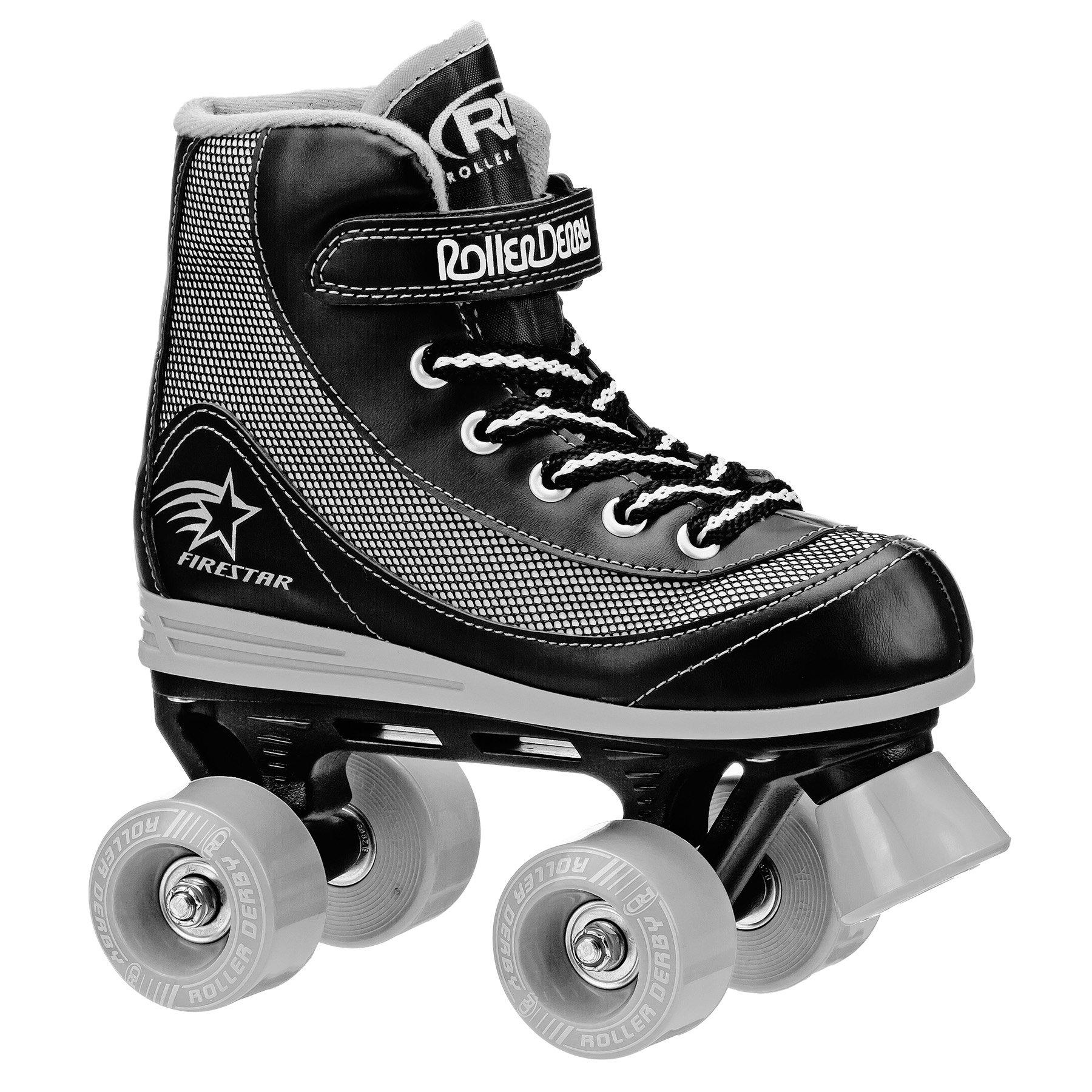 Roller Derby 1378-04 Youth Boys Firestar Roller Skate, Size 4, Black/Gray by Roller Derby