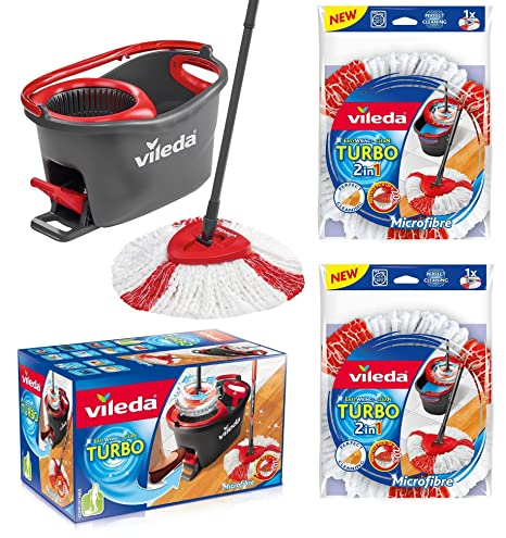 Vileda Turbo EASYWORLD Anillo & Clean Juego completo, cubo con Fregona y Power Plus centrifugado