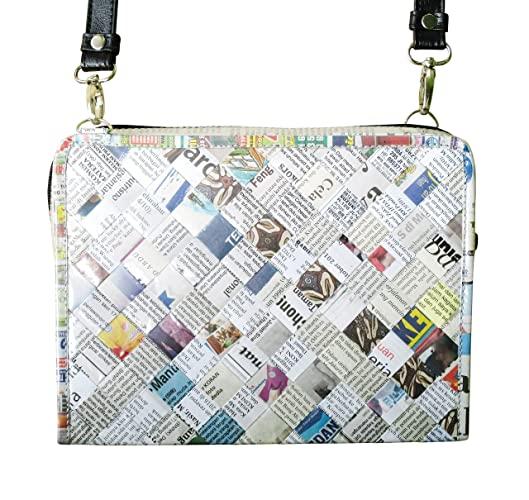 Medium zip crossbody bag using upcycled newspaper - FREE SHIPPING -  upcycled eco friendly vegan recycled reclaimed salvaged handmade unique  gift sling ...
