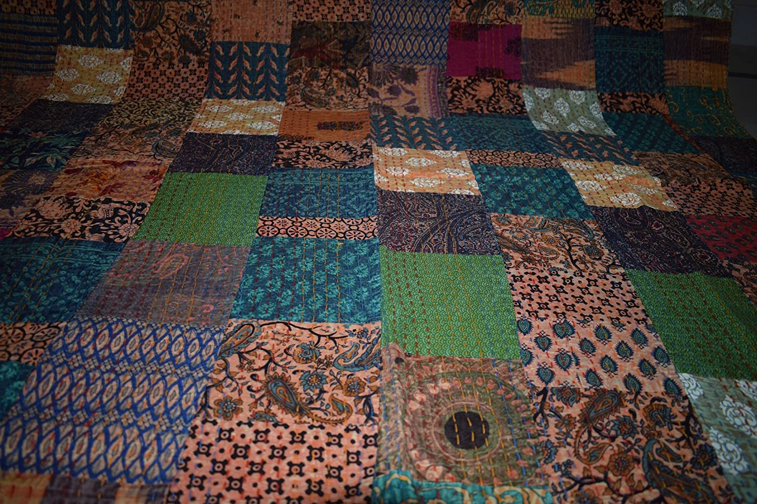Beige Patch Tribal Asian Textiles Hand Block Printed Patchwork Cotton Kantha Quilts Single Size Bed Cover Throw Bed Quilt