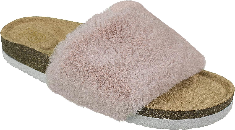 Chinese Laundry Ladies Wedge Sandal, Fur Fashion Slide, Size 6 to 10