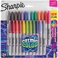 Sharpie Permanent Markers, Fine Point, Cosmic Color, Limited Edition, 24 Count