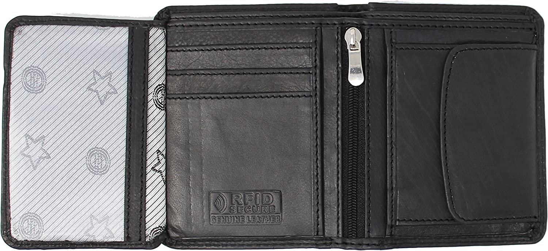 Black MORUCHA Mens RFID Blocking Compact Genuine Leather Trifold Wallet M35