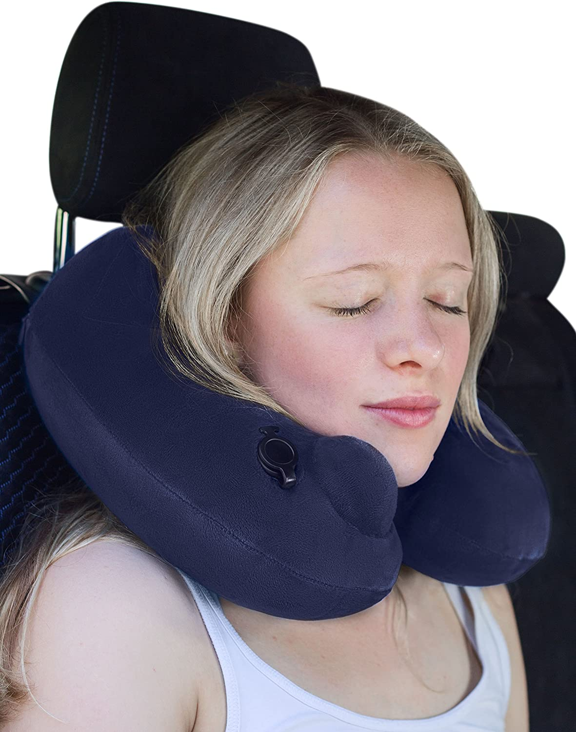 Super Soft Fleece with Sanitary Push-Valve Technology for a Relaxing Sleep on a Plane etc Inflatable Neck roll Pillow - Machine-Washable Small and Lightweight musegear/® Travel Pillow Deluxe