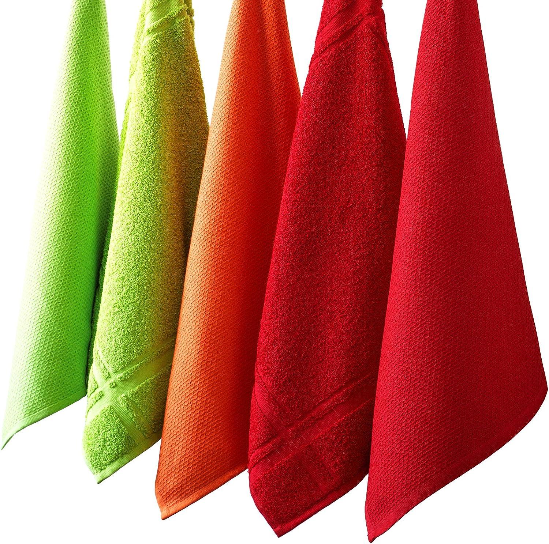 Toallas de rizo Lashuma Juego de 4 pa/ños de cocina Pa/ños de cocina en bonitos colores de moda Piqu/é pistacho 50 x 50 cm 100 /% algod/ón