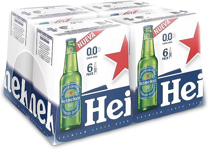 Heineken 00 Cerveza - 4 Packs de 6 Botellas x 250 ml - Total: 6 L ...