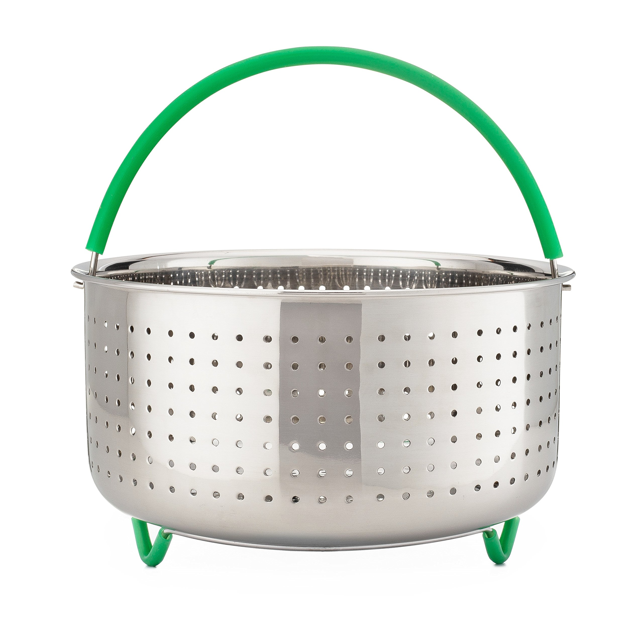 The Original GREEN STEAM 6 qt Instant Pot Steamer Basket Insert Accessories [ Also Fits 5qt & 8qt ] Stainless Steel, Silicone Handle & Legs - Fits Instapot, Other Pressure Cookers + BONUS Recipe Book!