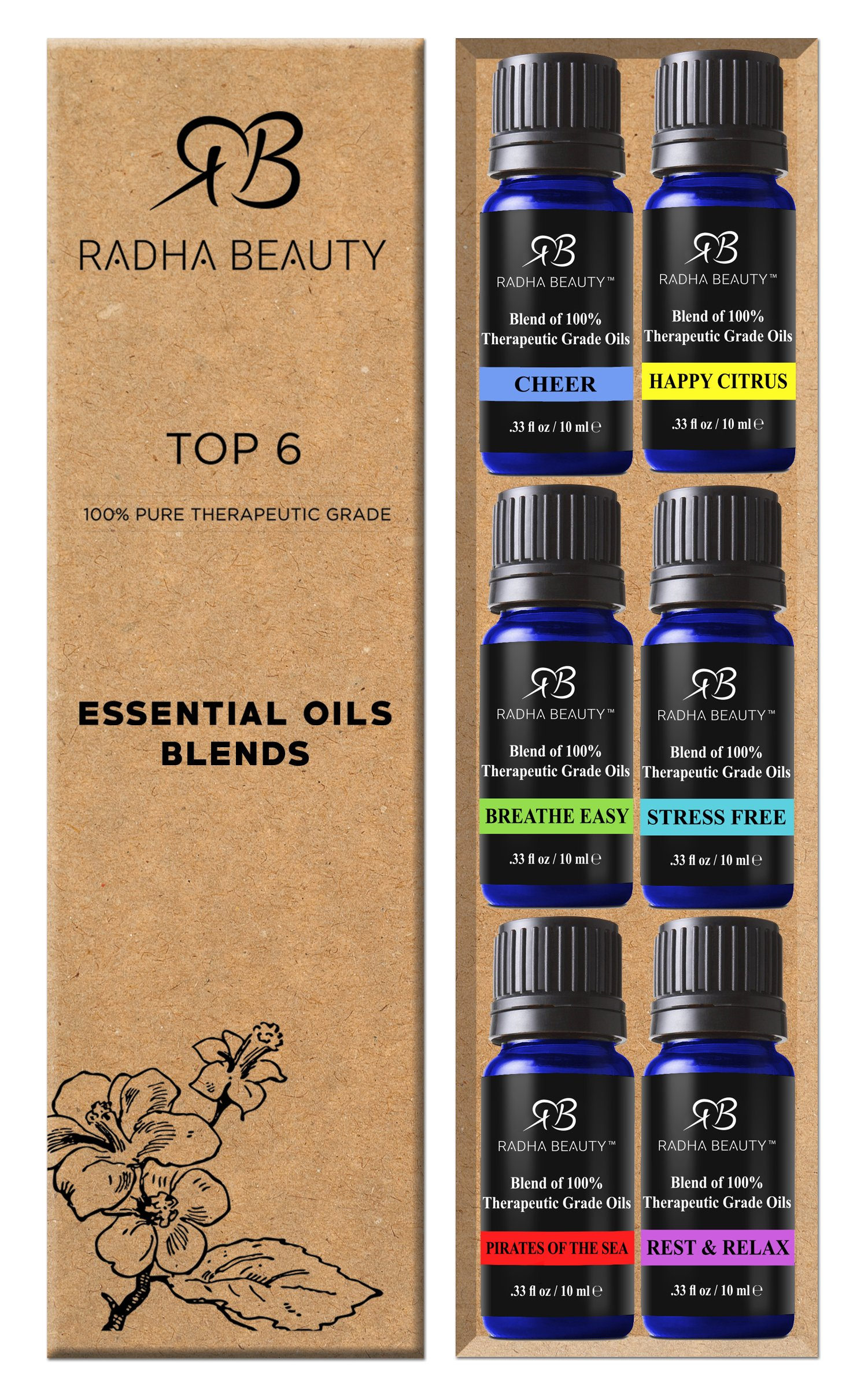 Radha Essential Oil Blends Set - 100% Pure and Natural Kit for Aromatherapy Sea of Thieves, Stress Free, Rest & Relax, Breathe Easy, Cheer, Happy Citrus, great Gift - 6/10 ml by Radha Beauty (Image #2)