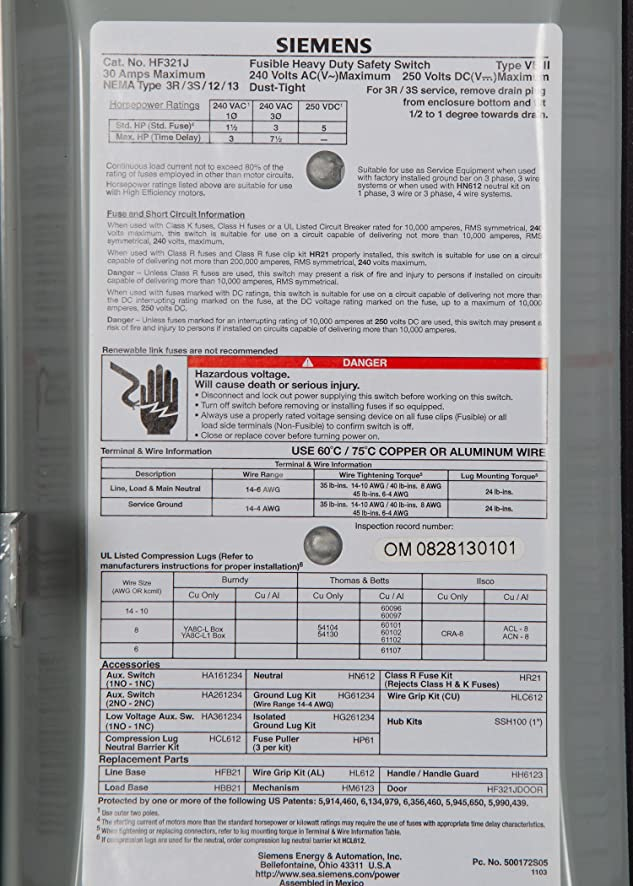 Siemens HF321J 30-Amp 3 Pole 240-volt 3 Wire Fused Heavy Duty Safety ...