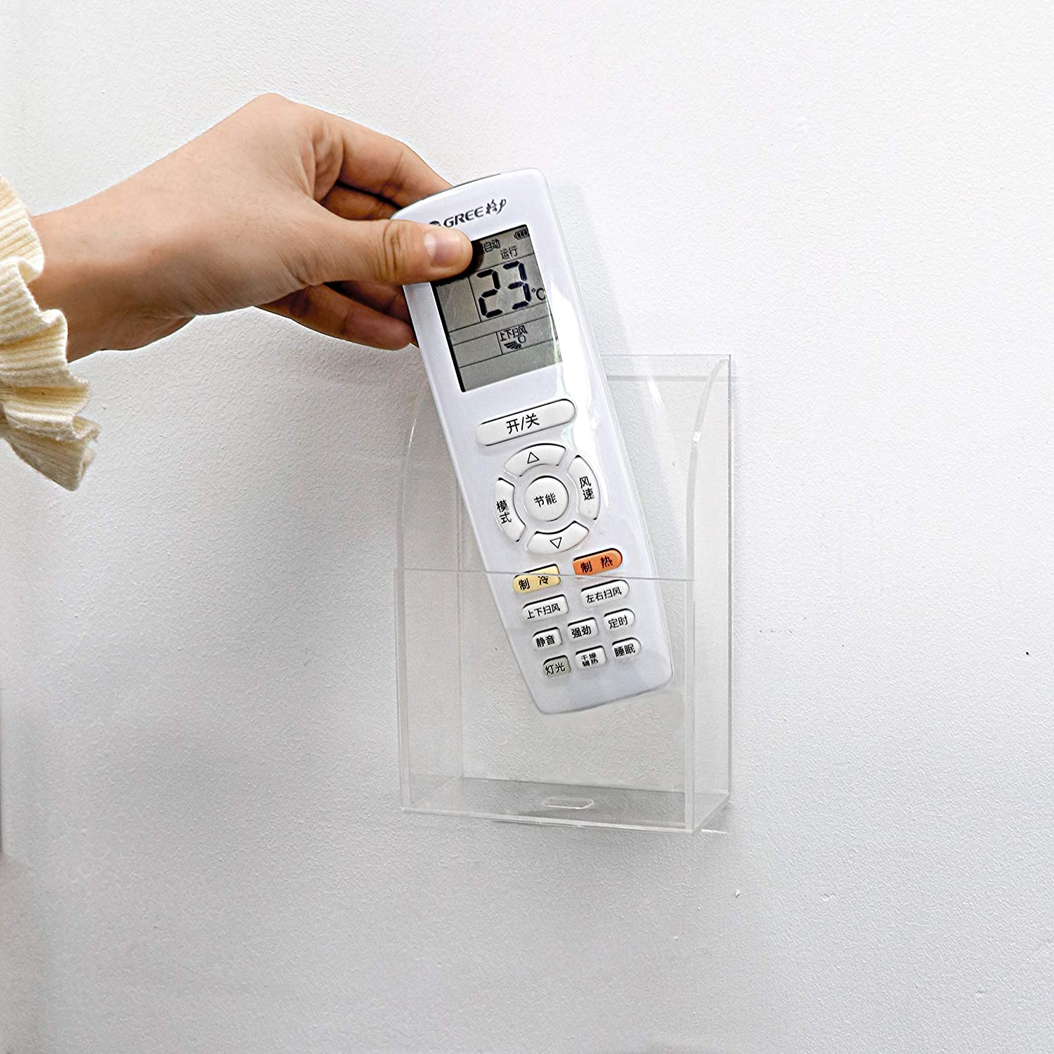 Fovasen Clear TV Remote Control Holder Wall Mounted Charging Phone Holder Media Storage Organizer Wall Box for Phone 2 Compartment