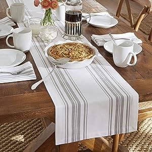 """Elrene Home Fashions Farmhouse Living Homestead Stripe Table Runner, 13"""" x 70"""", Gray/White"""