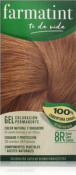 Farmatint Gel 8R Rubio Claro Cobrizo | Color Natural y Duradero | Componentes Vegetales y Aceites Naturales | sin Amoníaco | sin Parabenos | ...