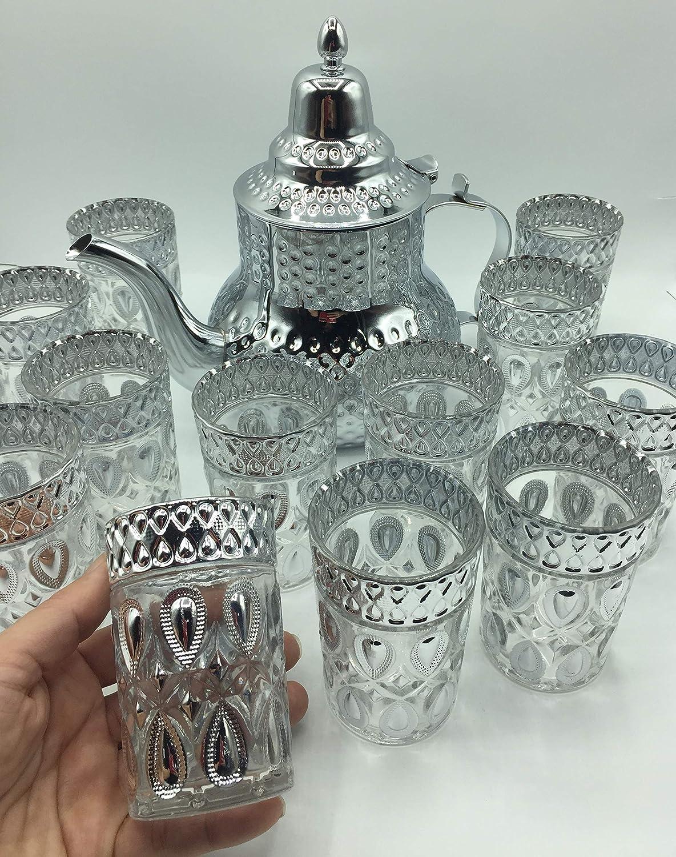 Color Dorado Doble lagrima high quality Pack de 12 Vasos de Cristal para T/é marroqu/í Multicolor y una Tetera Acero Inoxidable de 1.6L con Filtro Integrado
