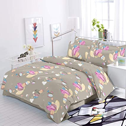 Trance Home Linen 100% Cotton 200TC Premium Printed King Double Fitted Bedsheet with2 Pillow Covers- Grey Pink Floral