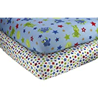 2 Count Little Bedding by NoJo Monster Babies Crib Sheet Set