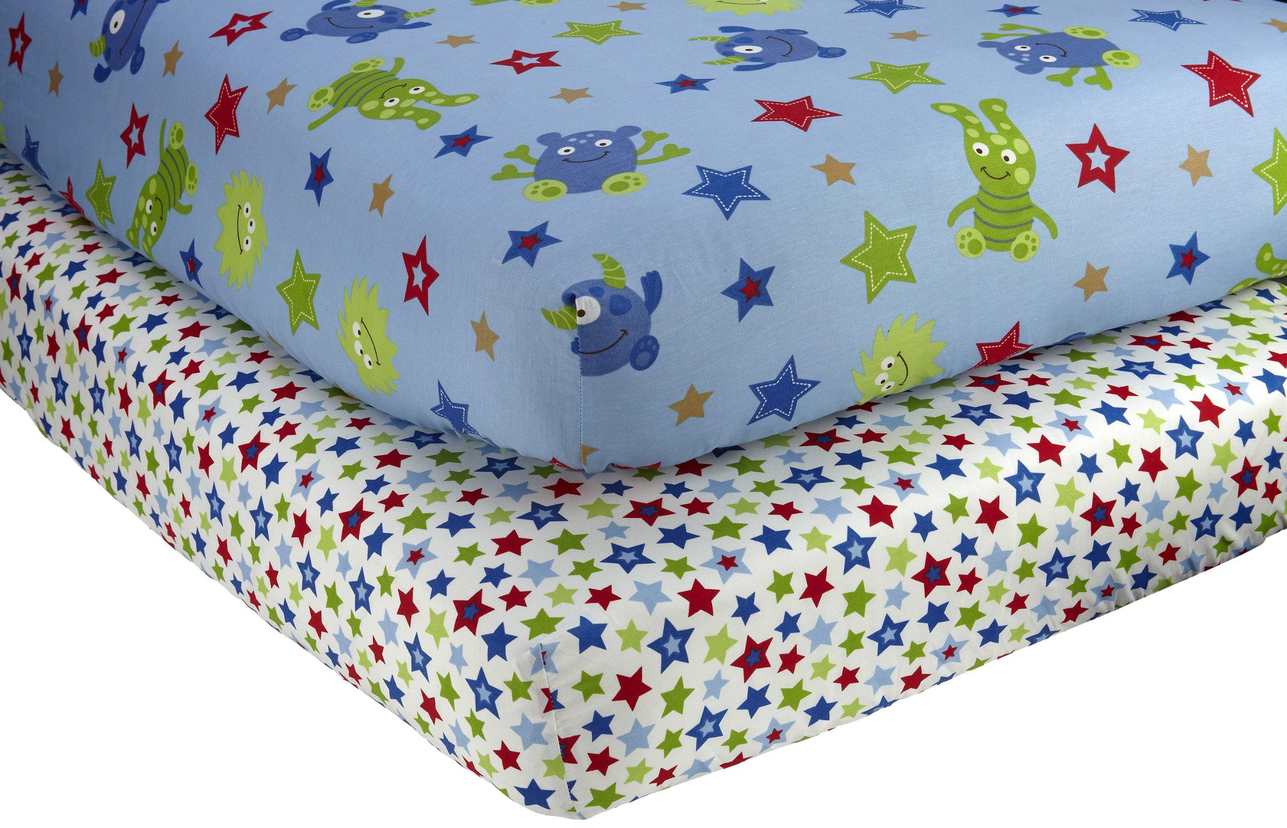 Monsters Inc 4 Piece Premier Crib Bedding Set: Amazon.com : NoJo Little Bedding 2 Count Crib Sheet Set