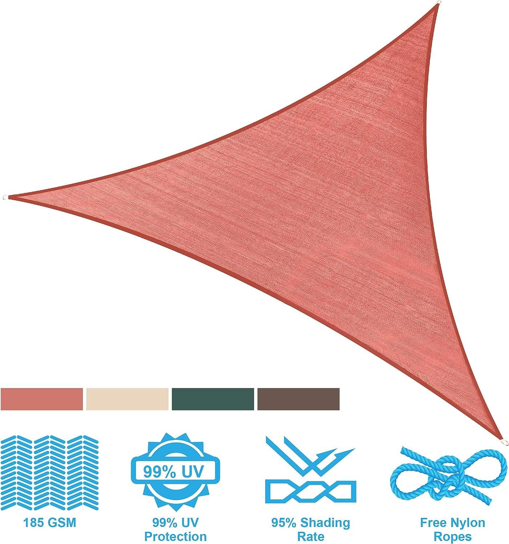 PHI VILLA Sun Shade Sail Triangle 12 x12 x12 Terra Cotta Patio Canopy Cover – UV Bloack – for Patio, Garden, Yard, Pergola
