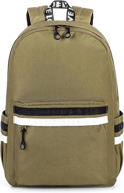 H HIKKER-LINK Water-Resistant 15.6 inch College Laptop Backpack School Bag Travel Pack Light Brown