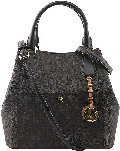 6e9e1fd9750314 MICHAEL KORS GREENWICH PVC SIGNATURE BROWN LARGE GRAB BAG: Handbags ...