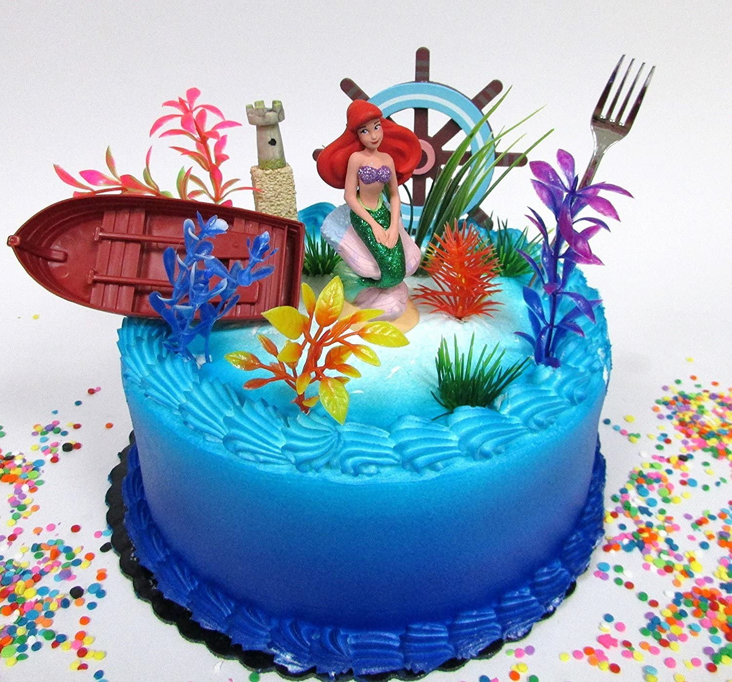 Cake Toppers Little Mermaid PRINCESS ARIEL Themed Birthday Set Featuring  Ariel Figure and Decorative Themed Accessories