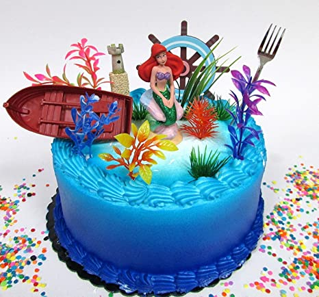 Little Mermaid PRINCESS ARIEL Themed Birthday Cake Topper Set Featuring Ariel Figure And Decorative Accessories