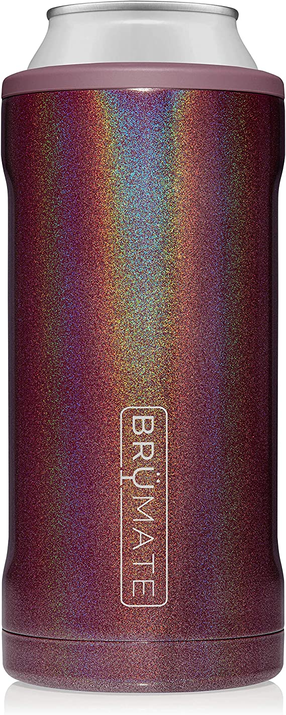 BrüMate Hopsulator Juggernaut Double-walled Stainless Steel Insulated Can Cooler For 24 Oz And 25 Oz Cans (Glitter Merlot)