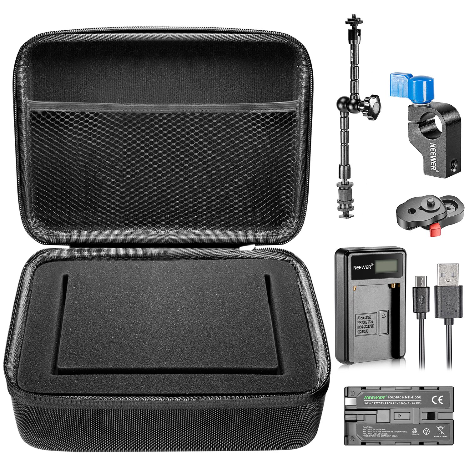 Neewer 7 inches Camera Field Monitor Accessory Kit for Neewer NW759 74K 760, Feelworld FW759 759P 760 74K and Others: F550 Replacement Battery, USB Charger Quick Release Plate,Carrying Case,Magic Arm by Neewer