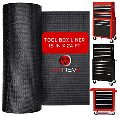 ONREVA Tool Box Liner Roll - Tool Chest Cabinet Drawer Liner, Professional Mechanics Tool Organizer Shelf Mat, Non-Slip Non Adhesive Rubber Perfect for Protecting Your Tools, 18 inch x 24 ft