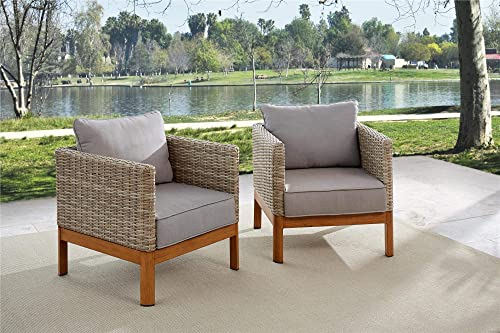 COSCO Outdoor Lounge Chairs, 2-Pack, Tan Wicker, Warm Gray Cushions