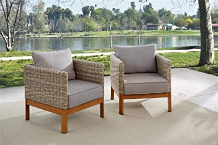 Fine Cosco Outdoor Lounge Chairs 2 Pack Tan Wicker Warm Gray Cushions Pabps2019 Chair Design Images Pabps2019Com
