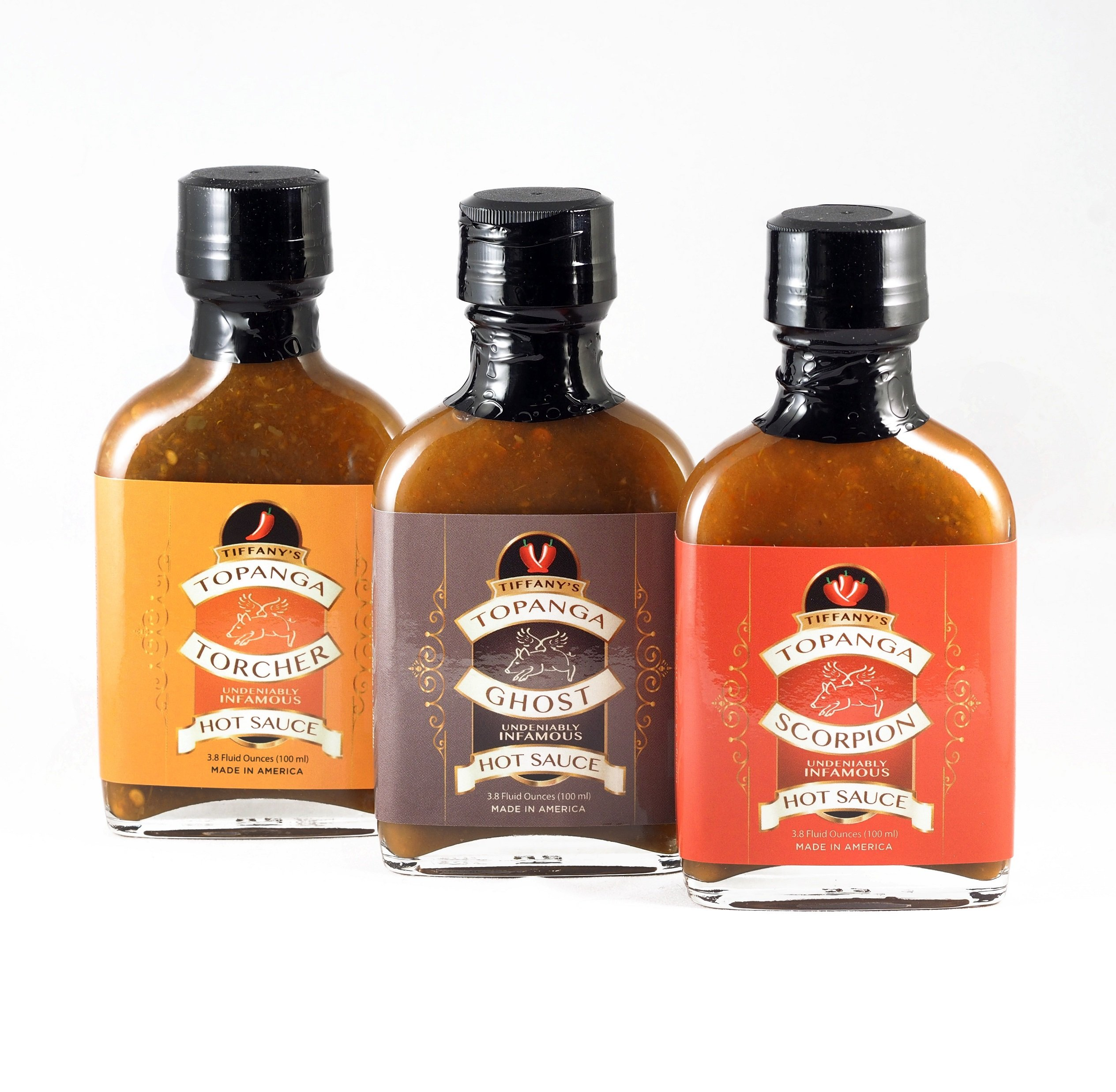 Tiffany's Torcher Hot Sauce Three Pack Variety Gift Set. A Gourmet Sampler Collection of Seriously Flavorful Selections using Fresh, Natural Habanero, Ghost, Scorpion, Serrano and Thai Peppers.